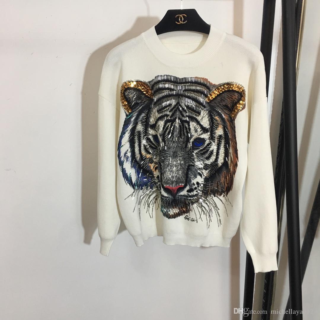 Großhandel Designer 2018 Schwarz Weiß Grau Tiger Pailletten Perlen Pullover Und Lange Hosen Marke Samt Style2 Stück Sets Für Damen Und Herren