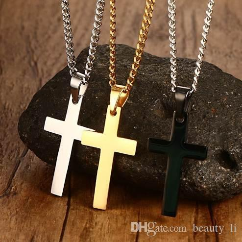 """VNOX Classic Mens Cross Pendant Necklace 24"""" Stainless Steel Link Chain Necklace Statement Jewelry"""