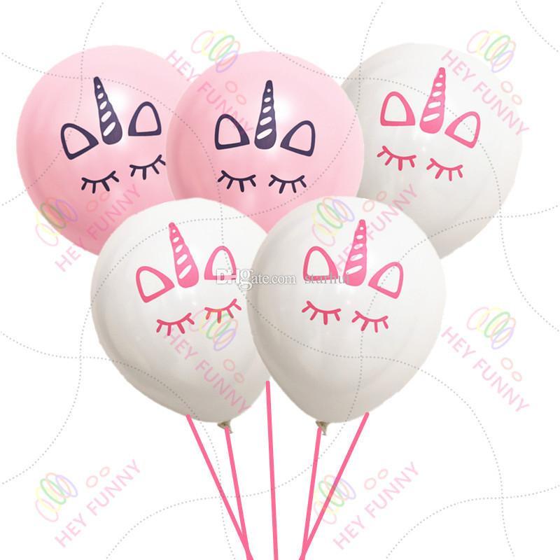 Unicórnio Balões Feliz Aniversário Decorações Do Partido Crianças Rosa Branco Unicórnio Dos Desenhos Animados Balões Partido Unicórnio Suprimentos Crianças Amados 5 Cores WX9-510