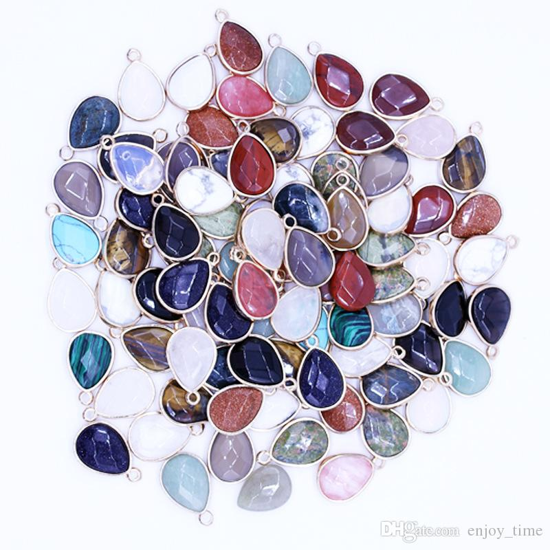 natural druzy crystal quartz stone mixed pendants Connector for diy necklace earrings jewelry making