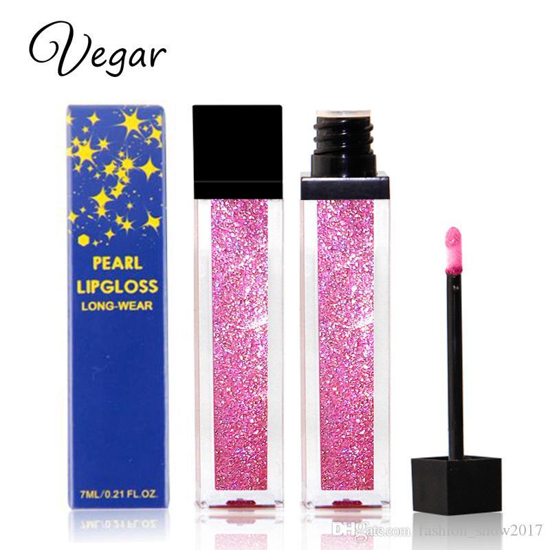 Vegar Marke Diamant Glanz Metallic Lippenstift Charming Langlebige Tattoo Liquid Lippenstift Glitter Pulver Lipgloss