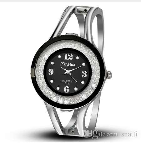 Pulseras de lujo de las mujeres relojes de pulsera de cuarzo reloj de cristal de acero inoxidable de la marca xinhua relojes de pulsera de reloj casual