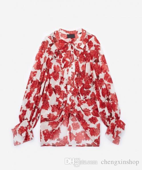 2018 França Hortensia Plissado Floral Imprimir Mangas Compridas V Neck Fita Amarrar Chiffon Senhora Blusa Mulheres Camisa MBL920 TK Outono