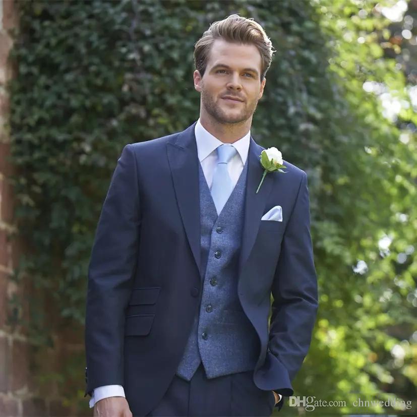 Custom Blue Wedding Tuxedos Slim Fit Men Suits 2018 (Jacket+Pants)Groom Suit 2 Pieces Prom Formal Business Suits