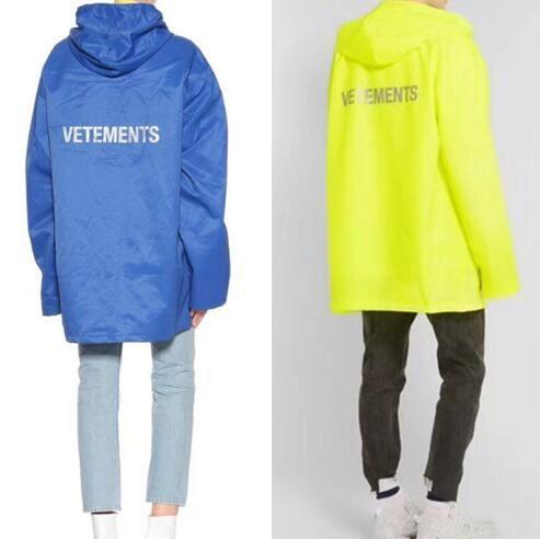 Vetements 후드 남성 여성 2018 새로운 대형 비옷 아우터의 코트 방수 윈드 블루 옐로우 DHL Vetements 자켓