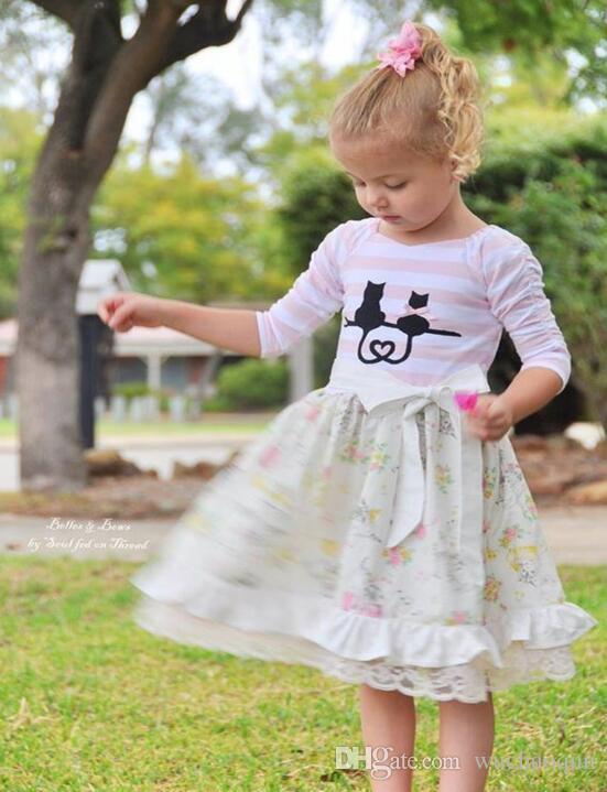 2018 Yeni Sonbahar Kız Elbise INS Bebek Kız Moda Çizgili Çiçek Dantel Prenses Elbise Çocuk Bow Elbiseler Butik Giyim çocuk giyim BY0276