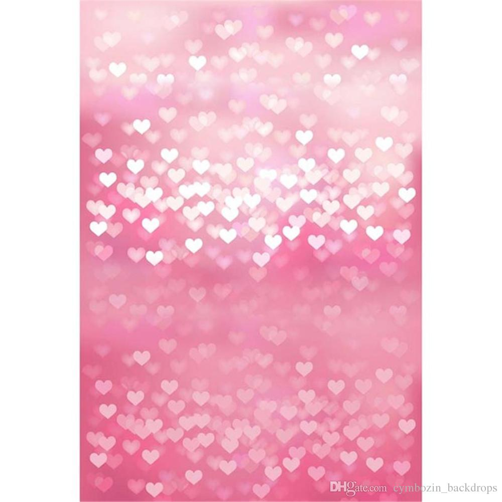 50 Pink Valentines Love Hearts Waterproof Shiny Stickers.