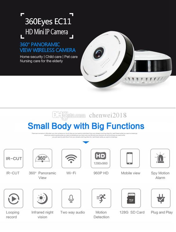 360 Degree Fish-eye VR Panoramic WIFI IP Camera HD 1.3MP IR Night Vision P2P mini Cam Home Office Security Surveillance Camera EC11-I6