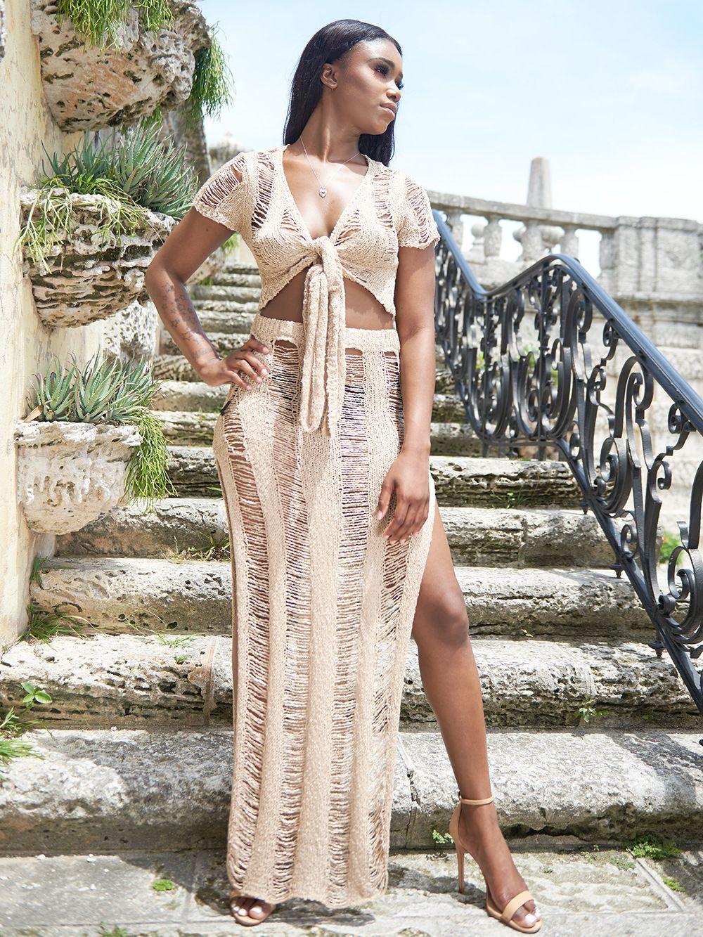 Envío gratis Sexy Wrap Bathing Swimwear Split Skirt Summer Long knitted Dress nuevas mujeres See Through Sarong Swim Cover Up Beach Dress