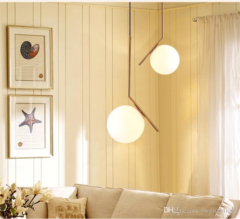 Luz pendiente nórdica de cristal de la lámpara de la bola de iluminación del restaurante Comedor decoración del techo de la sala de estar Habitación Sala