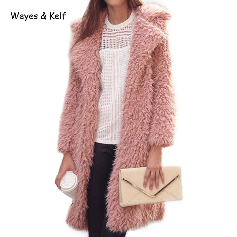 Weyes & Kelf Solid Turn-down Collar Fur Womens Wool Coats2018 Winter Warm Pink Long Trench Coat For Women