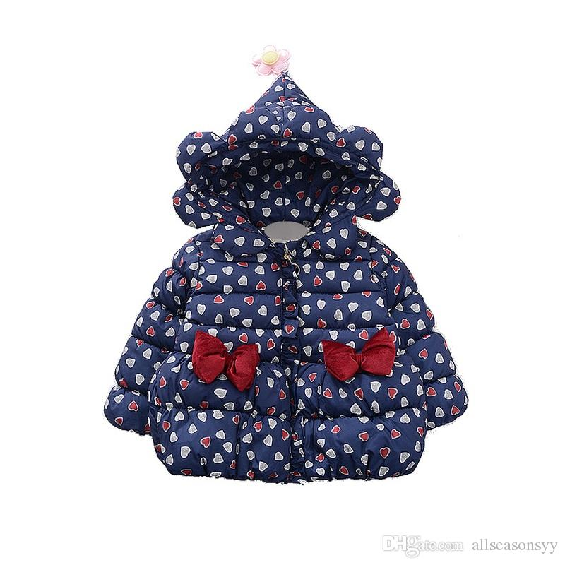 Children jackets toddler Girls Coats Hooded Thick autumn Winter Kids Outerwear Cotton bow Baby Clothes Boy Snowsuit