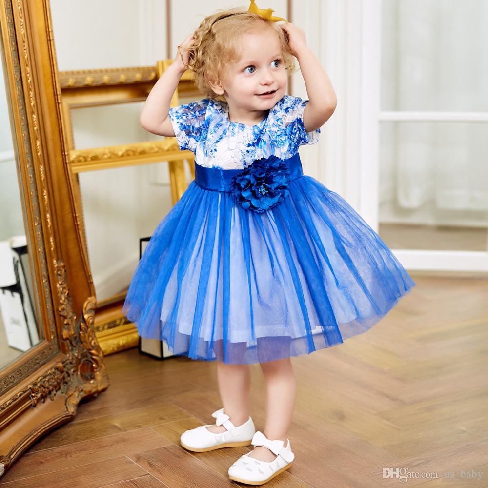 großhandel mädchen blau blume ballkleid kinder mädchen gaze spitzenkleid  kurzarm prinzessin tutu hochzeit geburtstagsparty kleid von us_baby, 18,08  €