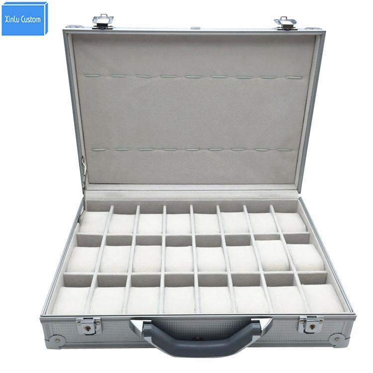 Luxury Aluminum Sport Protect Watch Suitcase Box Storage Watch Display Key-Lock Case, Aluminum Watch Storage Security Box, 24 Unit Spaces