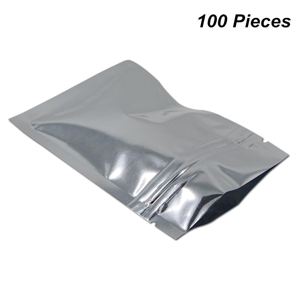 Srebro 100 Paczka Resealable Foil Mylar Płytki ciepła Pakiety Pakiety Aluminium Folia Zipper Blokada Torby Do przechowywania Żywności Mylar Rodzaj folii Baggies