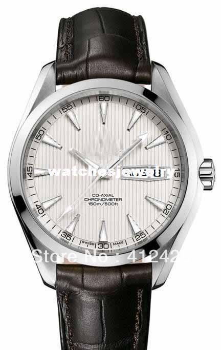 Wholesale-2013 NEW men brand Top Quality Men's Aqua Terra 150m Gents 231 White dial Black Leather Bracelet Automatic racing Men's Watches