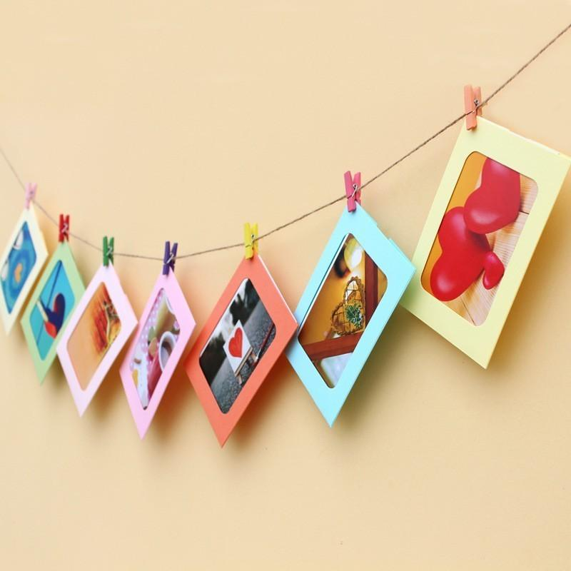 Suspension Paper Photo Frame polychrome Bring Rope Clip Group Combine Photo Wall Storage Racks Holder Home Decor