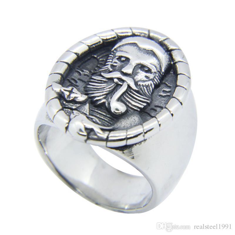 5pcs/lot Smoking Gentleman Ring 316L Stainless Steel Fashion Jewelry Popular Biker Hiphop Style Europe Men Ring