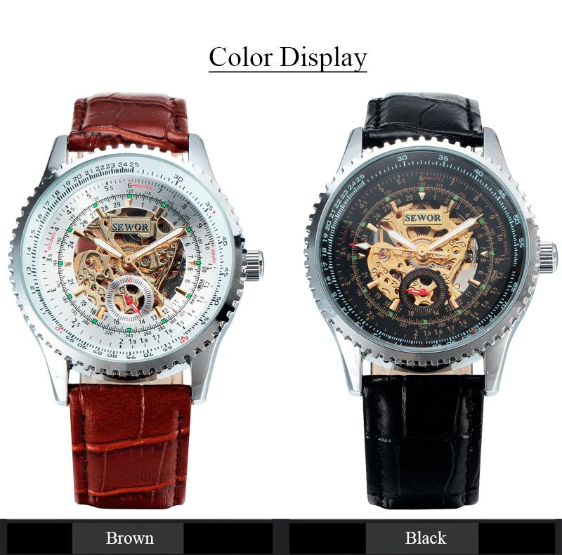 SEWOR роскошные механические скелет часы мужчины случайные часы часы кожа мода наручные часы Erkek Kol Saati Relojes SWQ21-740