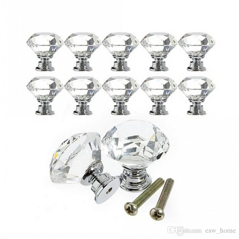 30mm Diamond Shape Crystal Glass Drawer Cabinet Knobs and Pull Handles Kitchen Door Handles Wardrobe Hardware