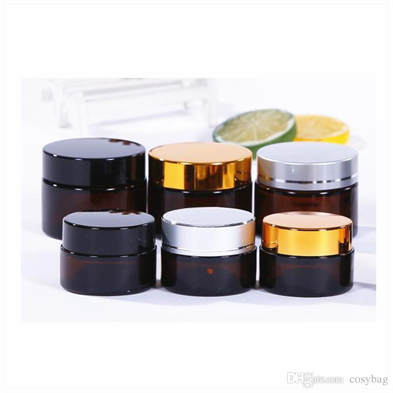 10/20/30/50ml Amber Glass Jar Travel Cosmetic Makeup Jars Lotion Creams Glass Bottle 0238