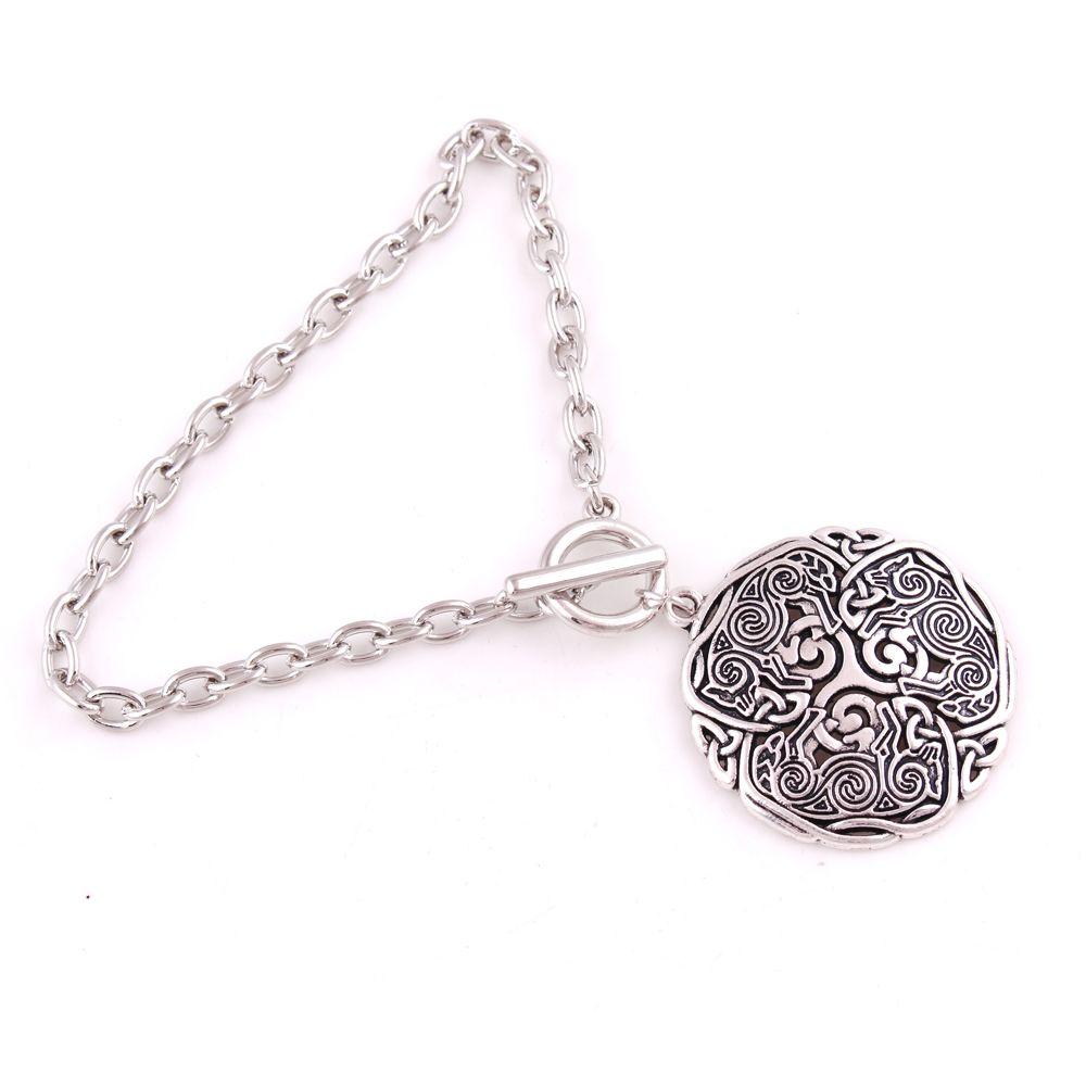 Wolf Schmuck Männer Viking 3 Armband Energie Amulett Norse Celtic Triscelion Link Kette Frauen Weizen ucjfb