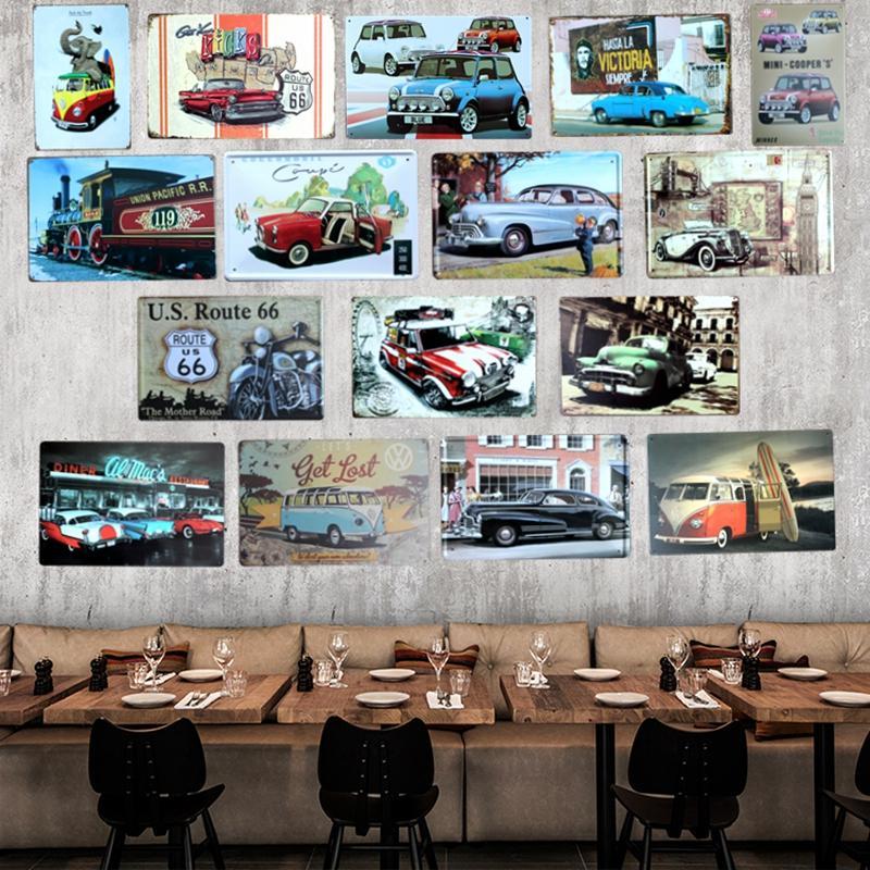 폭스 바겐 버스 빈티지 자동차 틴 기호 Tinplate Plaques 포스터 아트 벽 장식 하우스 카페 바 레트로 메탈 페인팅 믹스 주문 20 * 30 CM