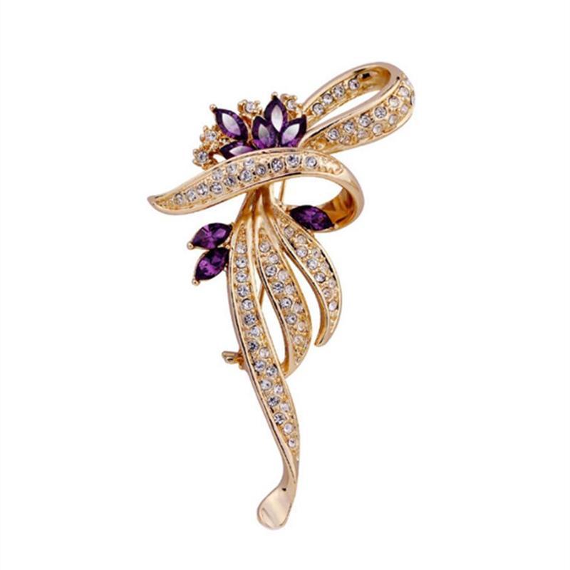 2c3b7d719ee9 OneckOha Fashion Jewelry Purple Rhinestone Flor Broche Pin Joyería Regalo de  cumpleaños de las mujeres