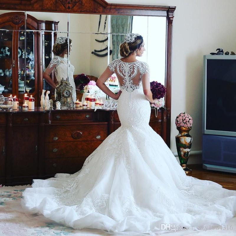 Élégant Dubaï Robe De Mariée Sirène Cou Cou De Bijoux Demi Manches Perles Dentelle Applique Robe De Mariée Charmant Afrique Arabie Tulle Longue Robes De Mariée