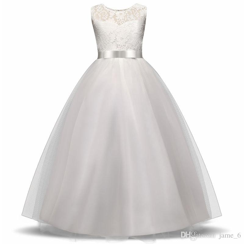 Girls Wedding Party Flower Girl Dress Bridesmaid Clothes for Wedding Princess Gowns Teen Girl White Tulle Evening Dresses