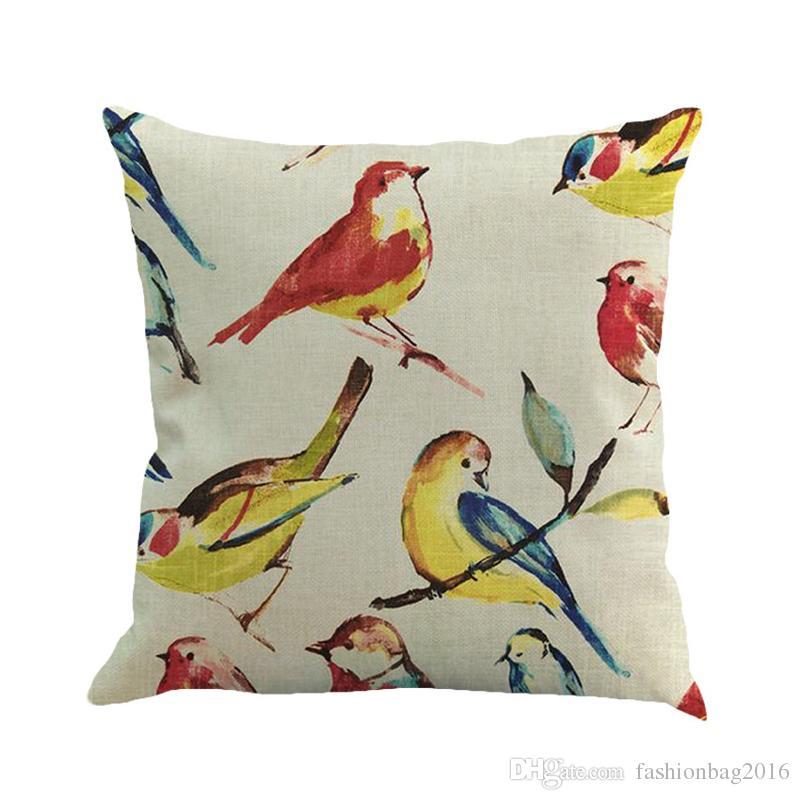 Cushion covers Free shipping European retro twig birds Cotton and linen pillowcase office pillow case size 45cm*45cm