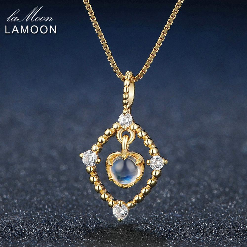 Lamoon 4mm Natural Ligth Blue Moonstone 925 Sterling Silver Chain Pendant Necklace Jewelry S925 LMNI036 Y18102910