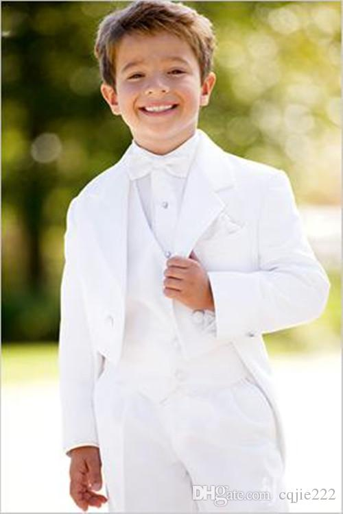 نمط جديد مخصص الأبيض دعوى الدعاوى طفل صبي عرس الصبي ملابس رسمية (سترة + سروال + التعادل + الصدرية) 608