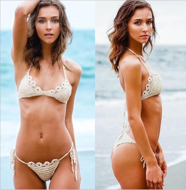 2018 NEW Styles Knit Swimwear Bikini Sexy Two Pieces (Bra + Panties) Triangle Bikini Swimsuit Lady Sexy Swimsuit Bra Bikini 6Piece/lot #35