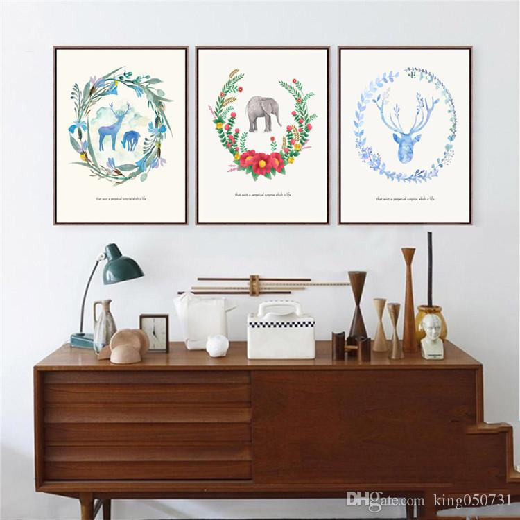 Tríptico Nórdico Pinturas de Acuarela AnimalFlower Minimalista Inicio Decoración de Pared Imagen de Arte Lienzo de Pintura Para Salas de estar Dormitorio deco