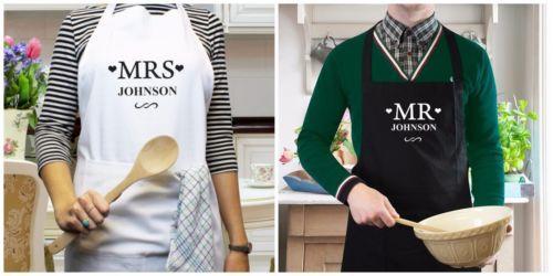 Kişiselleştirilmiş adı gelin damat Mrs Mr Önlük Düğün önlükleri Hediyeler Pişirme Mutfak anneler Günü Anne Teyze doğum günü Noel hediyeleri