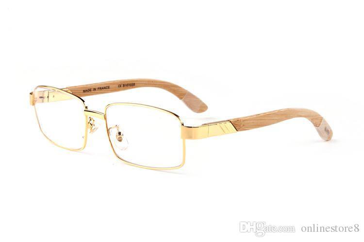 فرنسا تصميم بافالو القرن الساقين نظارات خشبية مع إطارات معدنية سبيكة عدسة واضحة أزياء العلامة التجارية الفاخرة إطارات النظارات البصرية نظارات القراءة