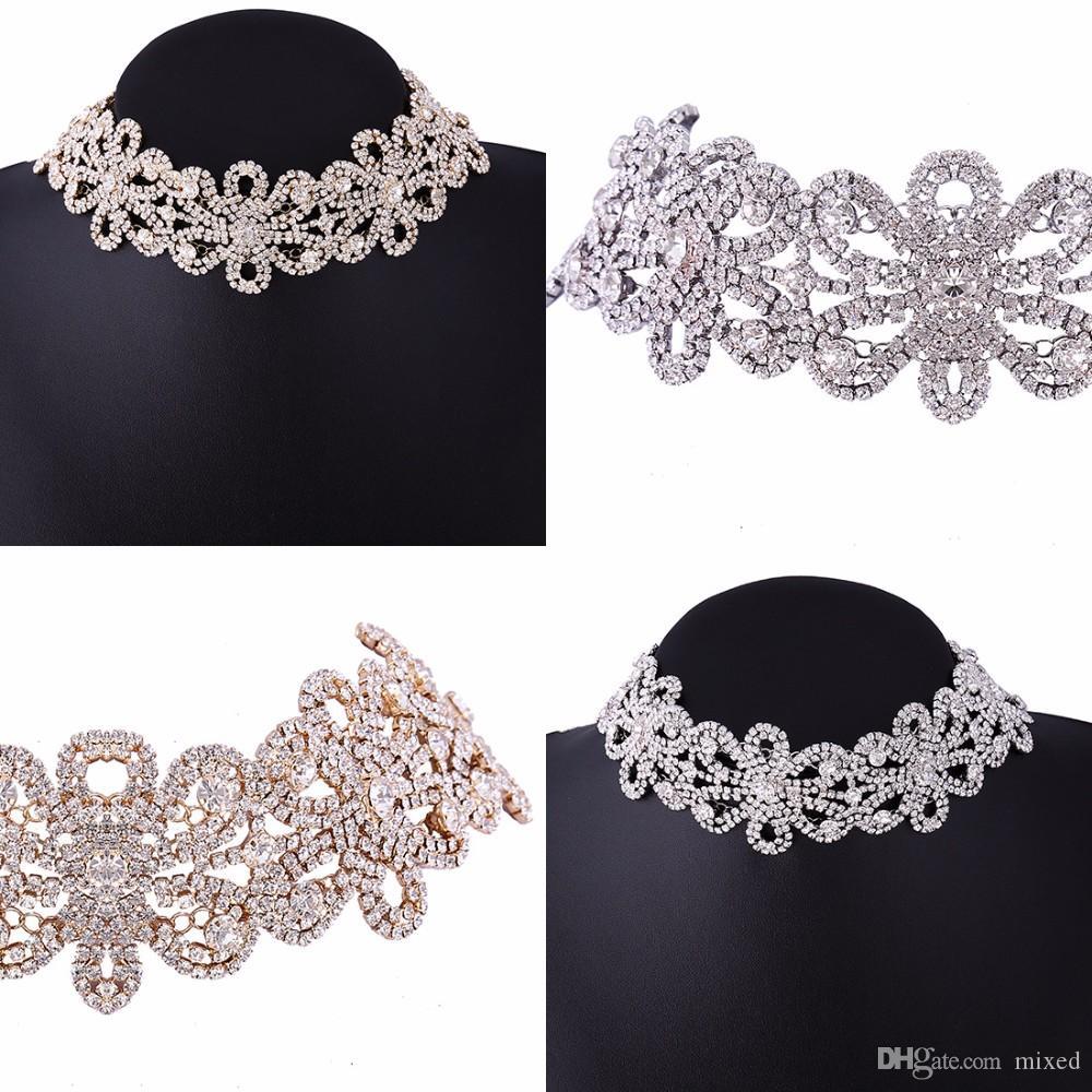 Мода Choker Crystal Свадебный Chocker Горный Хрусталь Цветы Колье Ожерелье Женщины Роскошные Ювелирные Аксессуары