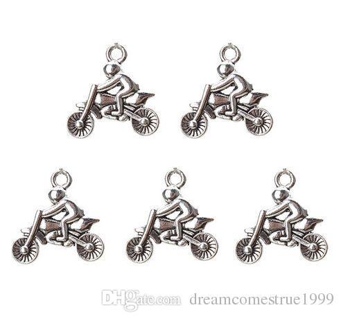 100 Unids de aleación de Metal Motocicleta Encantos Encantos de plata Antigua Colgante Para el collar de La Joyería que hace los resultados 22x21mm