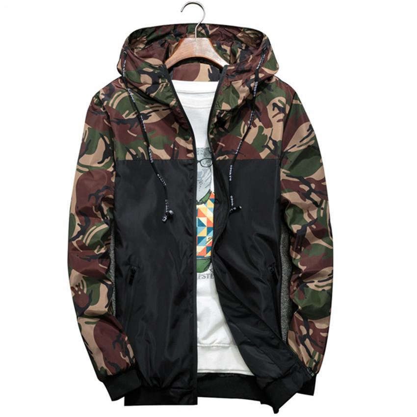 Marca Roupas Masculino Bomber Jacket slim manga comprida Camouflage Mens Casacos com capuz Windbreaker Zipper Exército Outwear