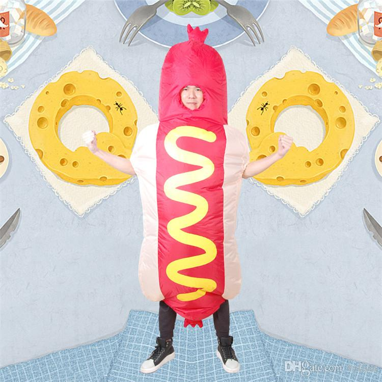 Halloween Party Inflatable Hot Dog Costume for Adult Chidren Blow up Food Cartoon Cosplay Outfits Funny Dress for Carnival Prank