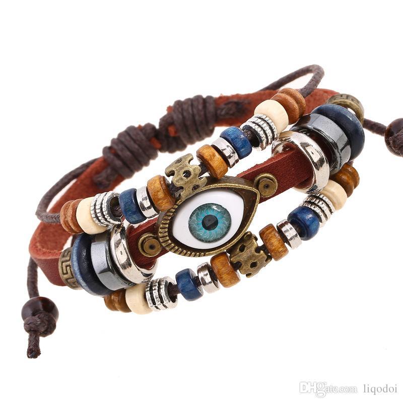 Diseño punky Turco Evil Eye pulseras pulsera pulsera de cuero genuino femenino étnico vintage joyería para mujeres hombres Bijouterie