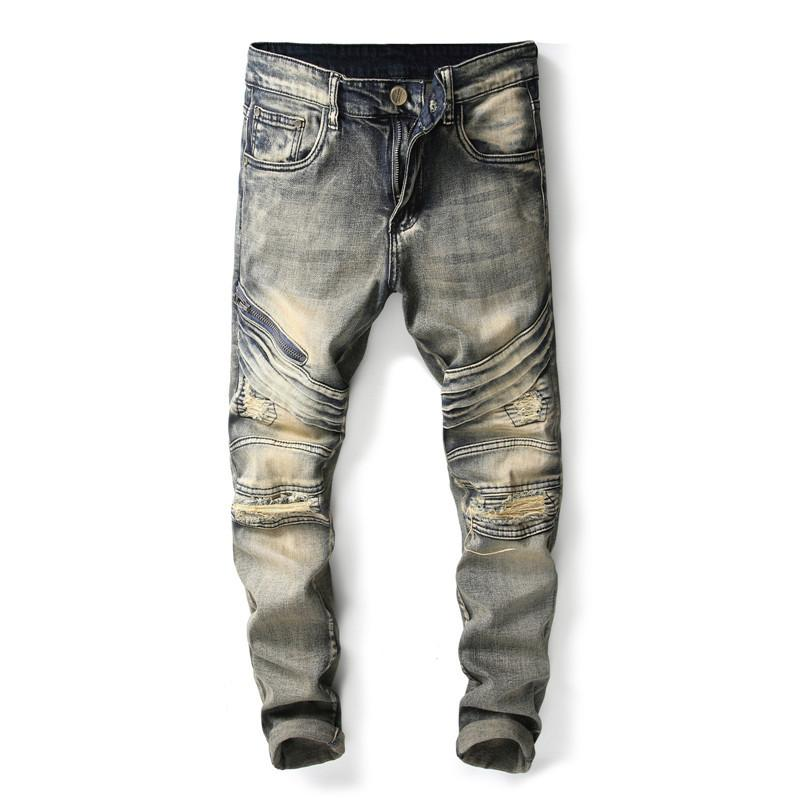 Men Ripped Jeans Pants Vintage Slim Pleated Motorcycle Pants Full Length Trousers Summer patchwork Denim Straight