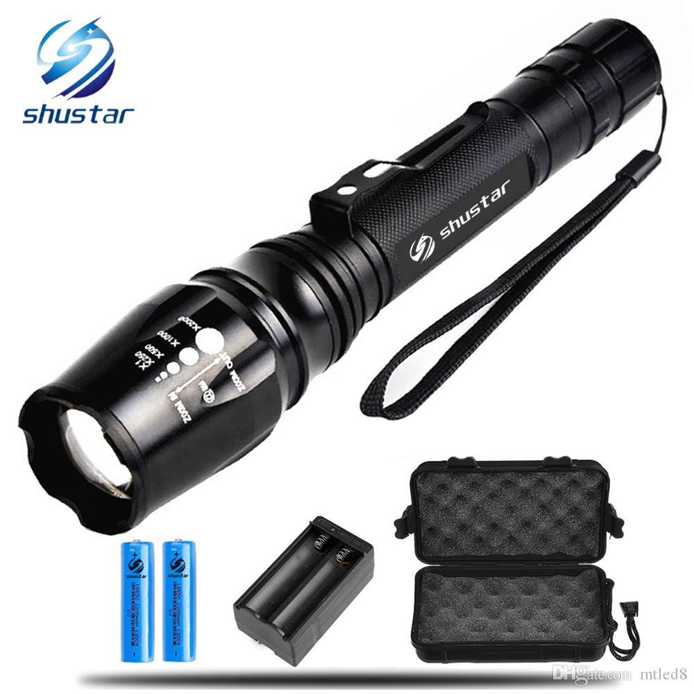 Shustar LED Ultra Bright torch XML-T6 XM-L2 LED Flashlight 5 lighting Modes 8000 lumens Zoom LED torch + charger use 18650 battery