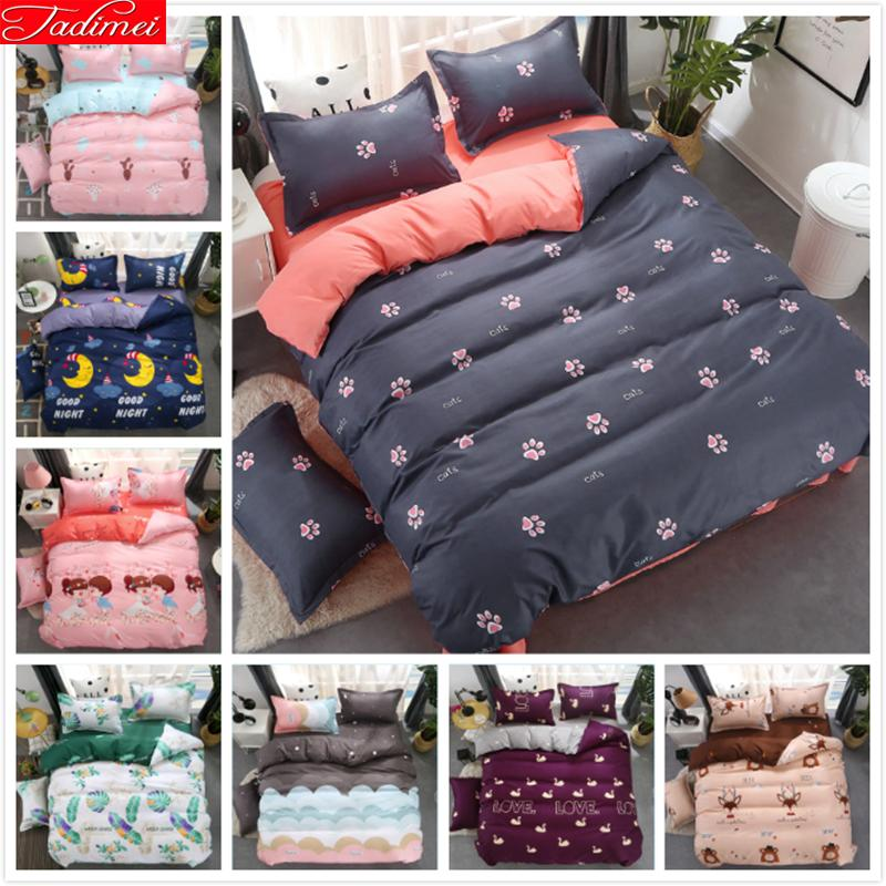 AB Side Single Twin Full Double Queen Super King Size Duvet Cover 3/4 pcs Bedding Set Sheet Quilt Pillow Case Bedspreads 150x200