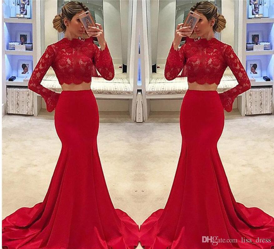 Red 2 Piece Mermaid Prom Dress