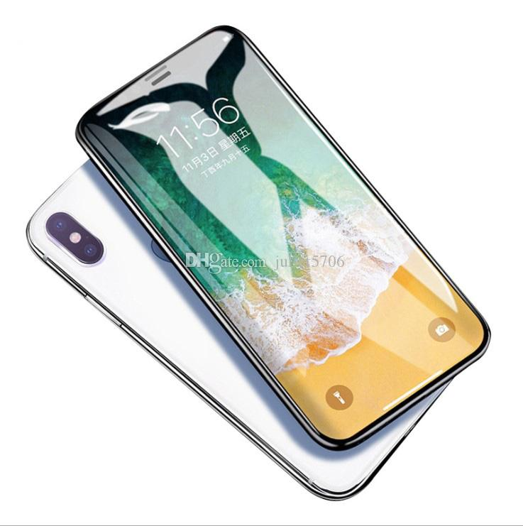 10D Carved Full Screen Protector For iPhone X XR XS Max 6.5inch Tempered Glass Film For Iphone 6 6S 7 8 Plus Cellphone Screen Protectors