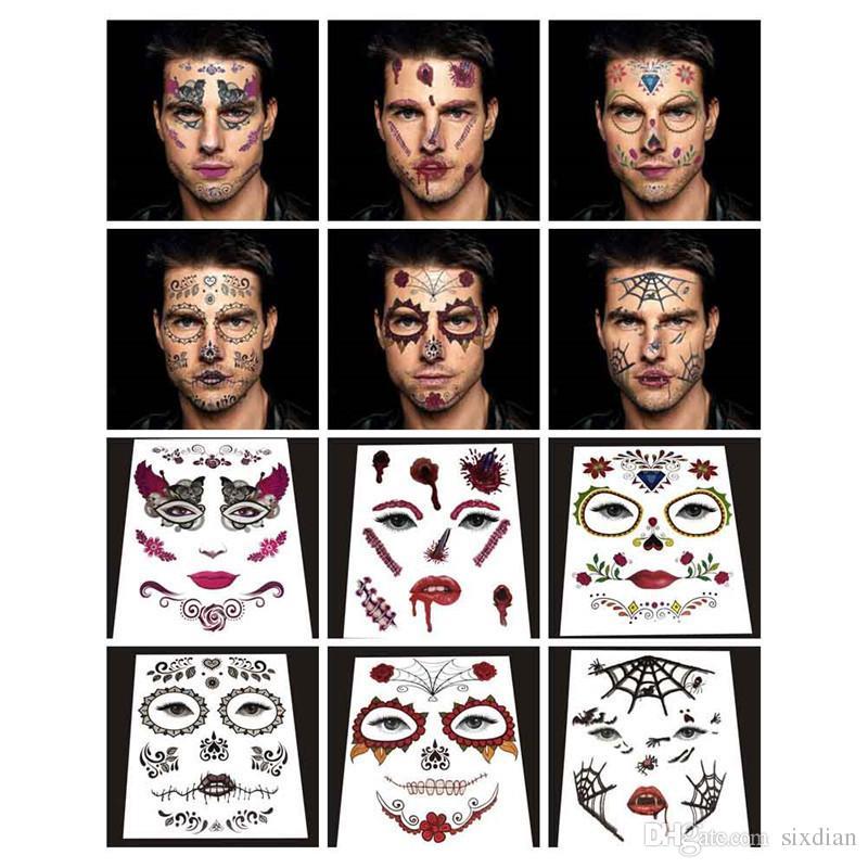 Neueste Gesicht Tattoo Aufkleber Halloween Gesicht Aufkleber Persönlichkeit Wasserdichte Bühne Requisiten Kunst Werkzeug Temporäre Tätowierung Aufkleber