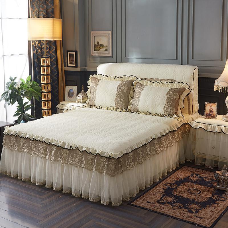 Kapitone Pamuk Pembe Mavi Mor Dantel Yatak örtüsü Yatak örtüsü Bedskirt set kral / kraliçe yatak takımları Çarşaf set Yastık Kılıfı