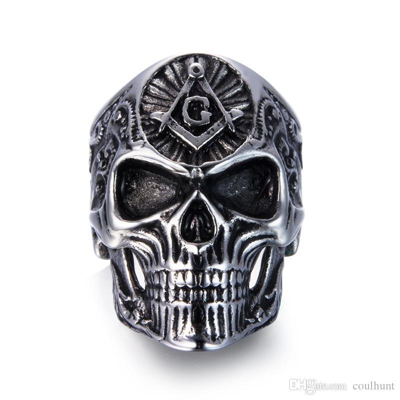 2018 Nuovo stile hiphop Anello da uomo in acciaio inossidabile Masonic Skull Anelli in titanio per uomo Vintage Punk Regalo di gioielli di moda BR8-539